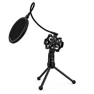 ammoon Trépied Support de Microphone pour Bureau et Table Mini Pliable Noir MS-12 (Filtre Anti-Pop)