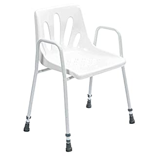 NRS Healthcare Shower Chair with Arms P01560 - Height Adjustable (Eligible for VAT Relief in The UK)