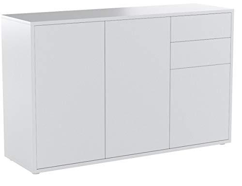 Vladon Kommode Sideboard Ben V3, Korpus in Weiß Hochglanz/Fronten in Weiß matt