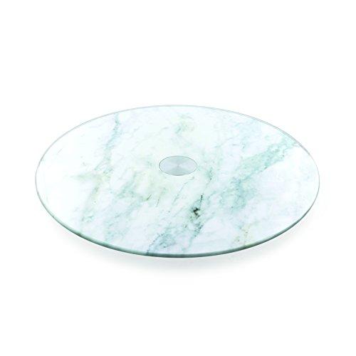 Saveur et Degustation KS9225 Bandeja giratoria, Efecto de mármol, de Cristal, Blanca, 28x 28x 2,5cm