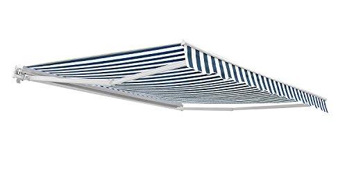 3,0m günstige Gelenkarmmarkise, Blau und weiß gestreift - 300g/qm Polyester