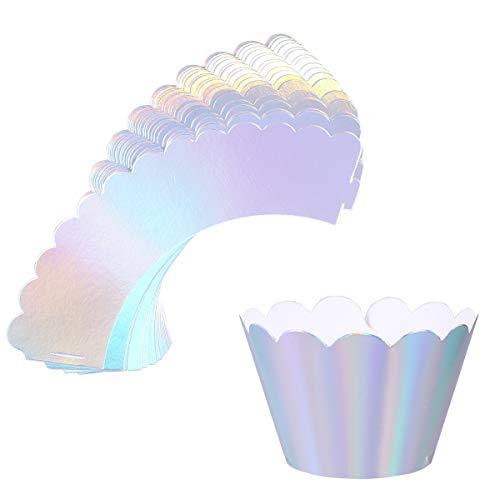 BESTonZON Cake Cupcake Wrapper, 36 Stück Irisierende Silber Pappbecher Liner für Hochzeit Geburtstag Tea Party Babyparty Food Dekoration (Silber Cupcake Wrapper)
