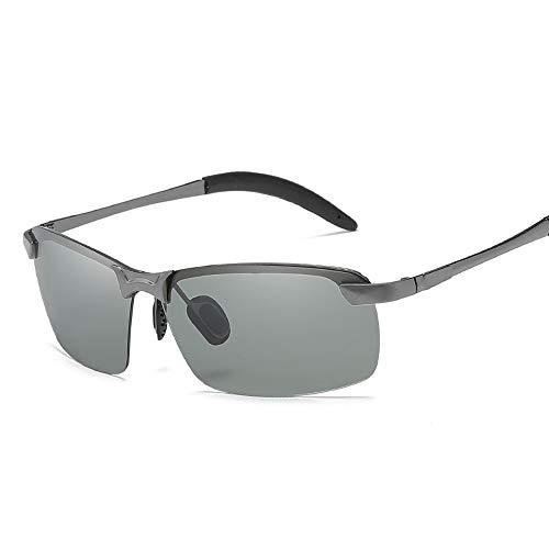 Easy Go Shopping Männer Tag und Nacht Fahren Brille für Outdoor-Reiten Angeln Laufen polarisierte farbwechselnde Sonnenbrillen für Sonnenbrillen und Flacher Spiegel (Color : Silber, Size : Kostenlos)