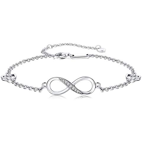 Finrezio 925 Sterling Silber Infinity Unendlichkeit Symbol Damen Fußkettchen Zirkonia Armkette Verstellbar Charm Knöchel Armband