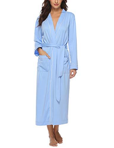 Aibrou Damen Baumwolle Bademantel Leicht Mantel Morgenmantel V Kragen Saunamantel Blau S - Mantel 38 Kurz