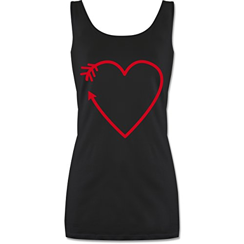 Romantisch - Herz Pfeil - lang-geschnittenes Tanktop für Damen Schwarz
