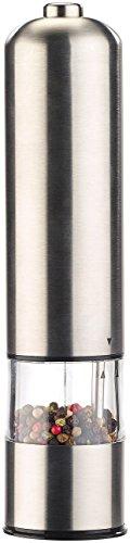 Rosenstein & Söhne Salzmühle: Elektrische Salz- / Pfeffermühle mit Keramik-Mahlwerk, LED, 22,5 cm (Elektrische Kombi Gewürzmühlen)