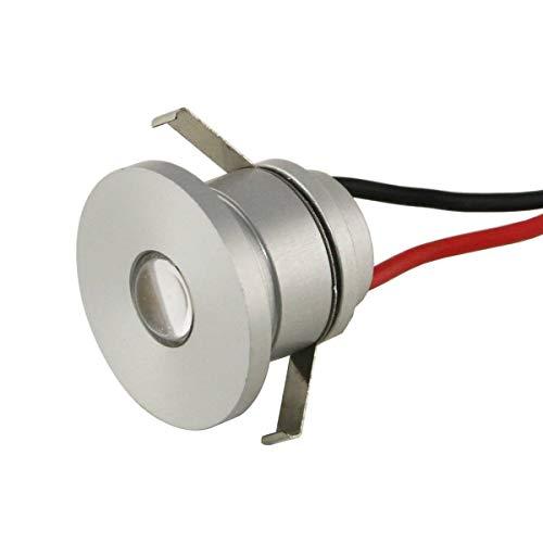 Mini Einbaustrahler (VBLED® LED Aluminium Mini Einbaustrahler IP44 wassergeschützt - 1W 350mA 80lm warmweiß (3000 K) (Einbauleuchte einzeln))