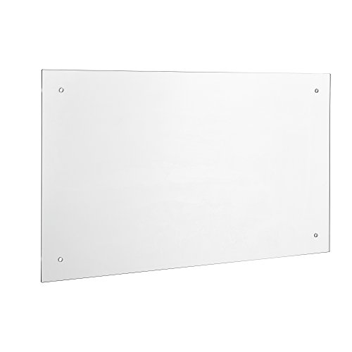 [neu.haus] Glas Küchenrückwand / Spritzschutz (90x50cm) - Klarglas - Fliesenspiegel inkl. Befestigungsmaterial