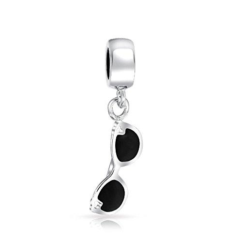 Bling Jewelry Schwarz Film Star Sonnenbrille Sterling Silber Reisen Raupe Passt Europäischen Charme Bracelet Für Damen Für Jugendlich