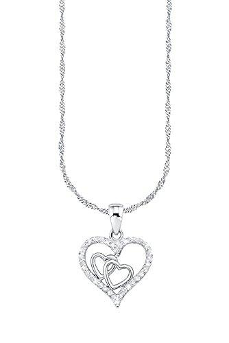 Amor Damen-Kette 42 cm mit Anhänger Herzen 925 Sterling Silber rhodiniert Zirkonia weiß