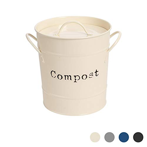 Harbour Housewares Industrie Compost Bin - Vintage Style Stahl Küche Storage Bucket - Removable Inner - Creme