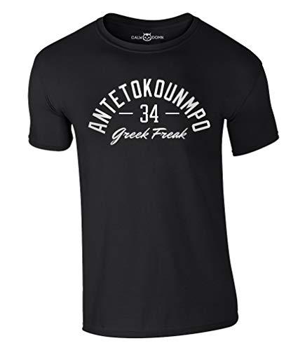 Greek Freak T-Shirt Antetokounmpo 34 Basketball Shirt Jersey Giannis Bucks Trikot NBA MVP (L, Schwarz)