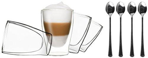 4X 310ML doppelwandige Occhiali + 4cucchiaio–Set Thermo Occhiali con effetto ondulato, anche per tè, tè freddo, succhi di frutta, Acqua, Cola, cocktail adatto, Duos By Feelino