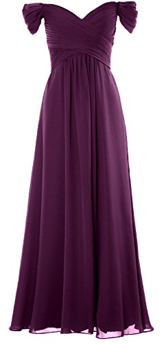 MACloth Women Off the Shoulder Long Prom Dress Chiffon Wedding Party Formal Gown Eggplant