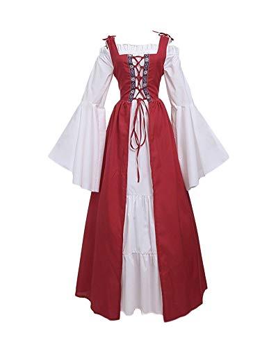 Gothic Kostüm Damen Für Erwachsene Prinzessin - DianShaoA Damen Mittelalter Kleider Viktorianischen Königin Kleid Cosplay Kostüm Langarm Kleid-Gothic Jahrgang Prinzessin Renaissance Bodenlänge Rot 4XL