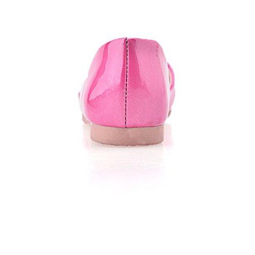 AgooLar Femme Couleur Unie Pu Cuir à Talon Bas Ouverture Petite Tire Sandales Rose Tendre
