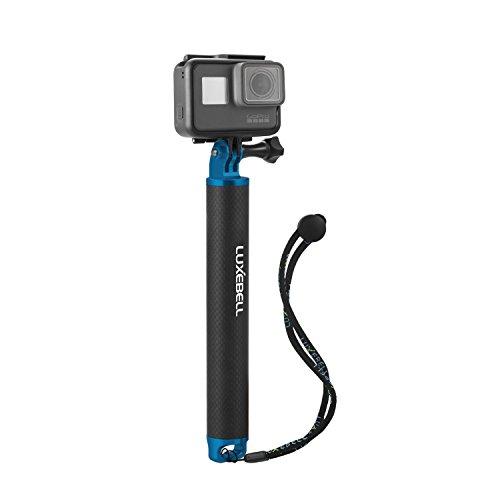 Luxebell mano Floating Grip / Palo Galleggiante / Bobber alluminio e fibra di carbonio materiali in lega di alluminio Treppiede e Dado+ Uno Nero vite di plastica, per GoPro Hero 4, 3+, 3, 2, 1, Hero Foto e Videocamere (blu)