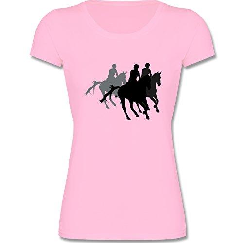 Sport Kind - Freizeitreiten Ausreiten Reiten - 164 (14-15 Jahre) - Rosa - F288K - Kinder Mädchen T Shirt leicht tailliert (Rosa Pferd Shirt)