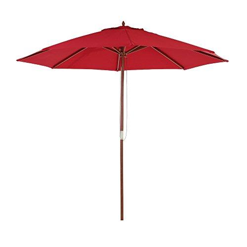 Ikayaa ombrellone giardino, ombrellone parasole da spiaggia in legno da 2.7m ombrellone baldacchino esterna caffè 8 costole 38mm po w/sfiato 180 ge poliestere