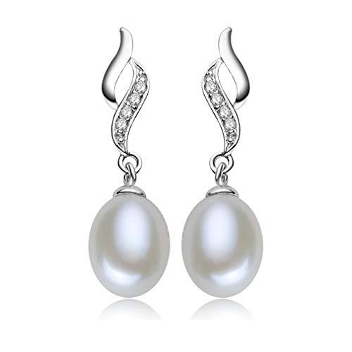 Pendientes Perla Mujer Plata Ley 925 Cristal Circonio