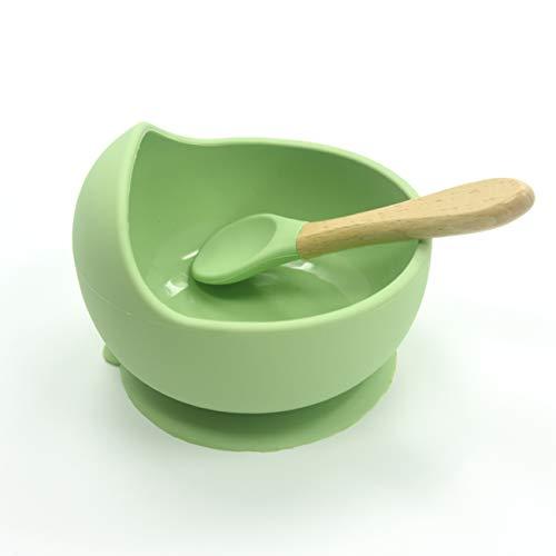 BABYSELF Set Bowl de silicona con ventosa y cuchara de bambu. Fuerte succión, antideslizante y libre de BPA. Cuenco con cuchara de madera para la alimentación de los niños BLW