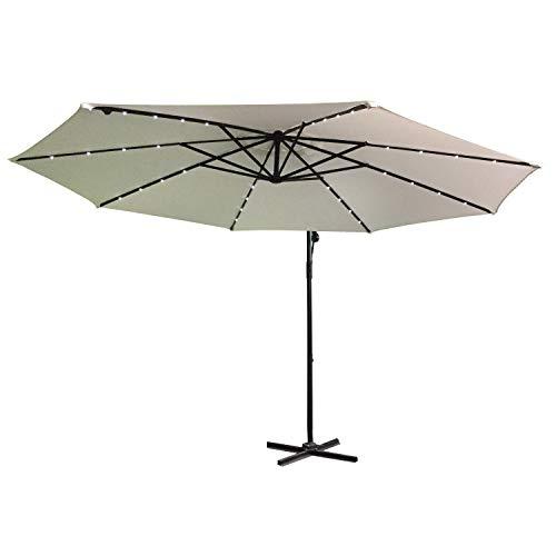 HENGMEI Ø350 cm ALU Sonnenschirm Gartenschirm Ampelschirm Strandschirm Kurbelschirm Neigbar Marktschirm Terrassenschirm UV Schutz 40+, mit Solar LED (Ø350 cm mit LED, Beige)