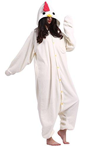 Pigiama da adulti animale cosplay, tema: pollo, unisex per altezze da 140 a 187 cm