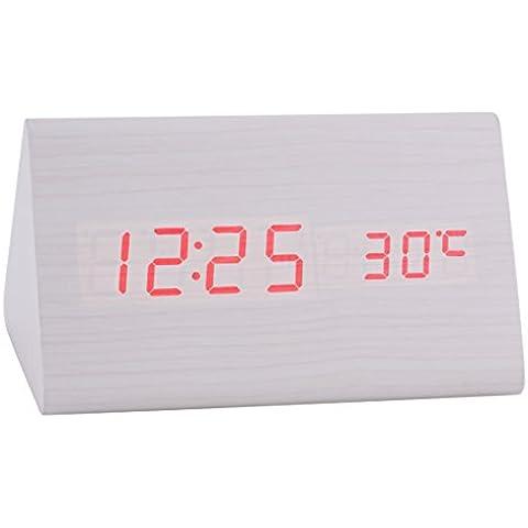 Konigswerk New triangular Sound Control USB/AAA funciona con pilas madera digital LED alarma reloj de mesa Despertador con termómetro calendario automático ajuste