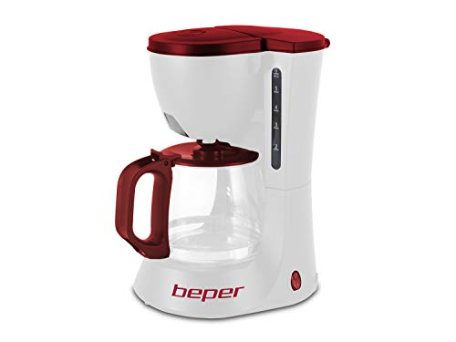 BEPER 90.395H Machine à café 600W 600ml 4/6 Tasses, 600 W, 0.6 liters, Blanc/Rouge