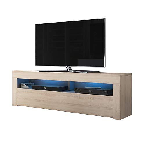 Selsey Alan - TV-Lowboard / TV-Bank / Fernsehschrank Sonoma Eiche Matt, LED in Blau, 160 cm -