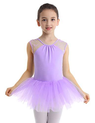 YiZYiF Kinder Ballettkleid Ballerinas Tanz Kostüm Ballett Trikot Kleidung Kinder Ballettanzug Rückenfrei aus Spitze und Tüll Röckchen Gr. 104-164 Lavender (Ballerinas Kostüme)