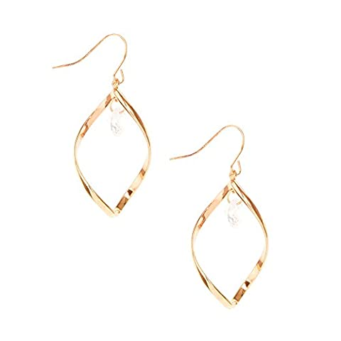 Claire's Girl's Rose Gold-tone Open Swirl with Cubic Zirconia Stud