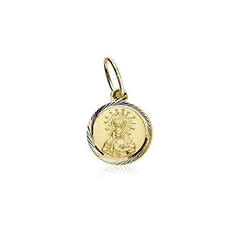 Medalla oro 18k Virgen Macarena 8mm. cerco tallado [AB8974]
