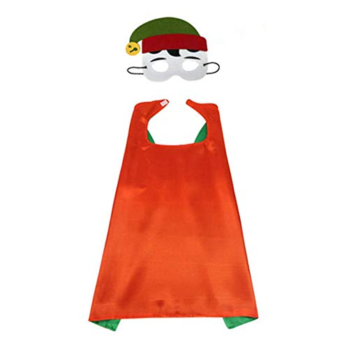 WUYANSE Weihnachtsdekoration Weihnachtsmann Weihnachtsbaum Elf Schneemann Muster Maske Umhang Set, Christmas Day Ball Kinder Cape Set, Fotografie Requisiten - Kinder Weihnachtsmann Kostüm Muster