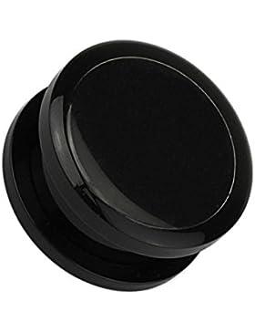 Paula & Fritz® Plug Double Flared mit Schraubverschluss aus Acryl schwarz mit Einschub für Foto 8-25mm PAP01-K