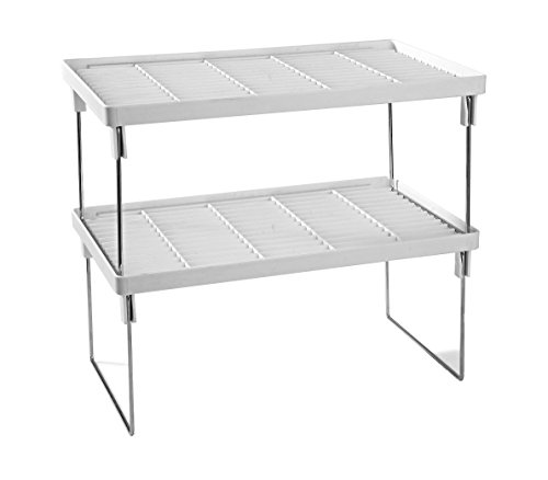 Disha High Quality Abs Plastic Folding Rack, 15.5X9.5X7.2, 2-Piece, White And Silver