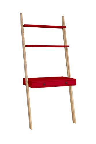Ragaba Leitertisch Schreibtisch Leiterregal mit Spiegel - mit Zwei Schubladen - Einfache Montage - 79 cm breit - FSC® Holz - rot