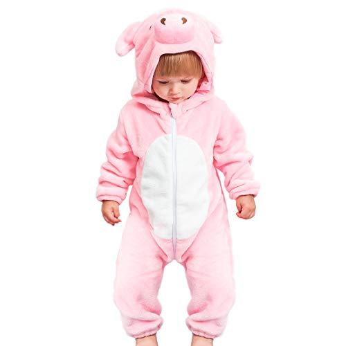 GWELL Kinder Baby Tier Kostüme Tieroutfit Cosplay Jumpsuit Schlafanzug Mädchen Jungen Winter Nachtwäsche Strampler Schwein 70