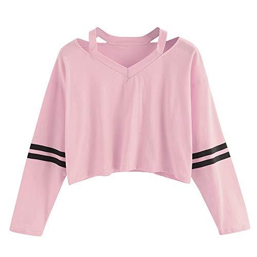 VEMOW Damen Bluse, Frauen Mode Streifen Langarm V-Neck Sweatshirt Causal Tops(X1-a-a-Rosa, 34/S)