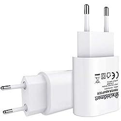 eLinkSmart Chargeur USB (2 Paquets) EU Chargeur mural USB 5V / 2A pour Caméra Wifi Soutien iPhone 7/7 Plus / 6s / 6s Plus, iPad, iPod, tablette, Galaxy, téléphones Samsung
