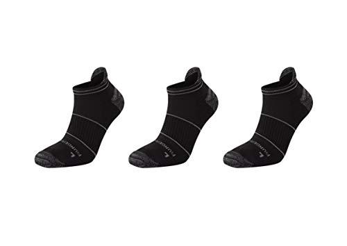 Runderwear Blasenschutz Sneaker Socken für Herren und Damen ***3 Paar Pack*** | Zweilagige, Funktions-Laufsocken (Schwarz, Large (EU 43-46)) -