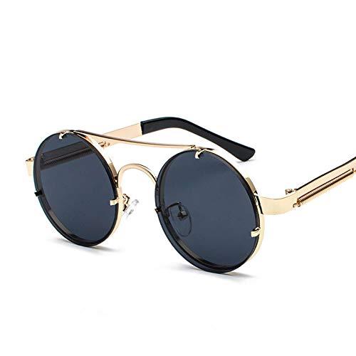 YUHANGH Vintage Brille Steampunk Retro Sonnenbrille Runde Frauen Eyewear Weibliche Shades Double Beam