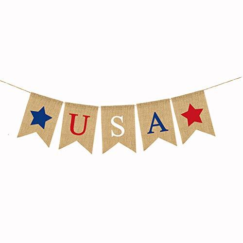 1 Satz Retro US National Vorhang Der US-Unabhängigkeitstag Garland Bunting Schwalbenschwanz Jute Leinen Leinwand USA-Flagge-Partei-Dekoration - Usa Bunting