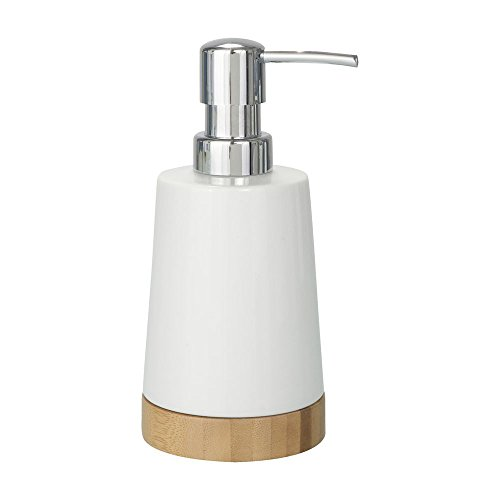 Wenko 17678100 - Dispensador de jabón líquido (porcelana), color blanco y madera