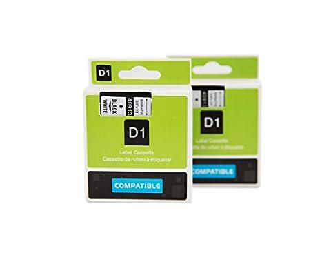 2 Rolle Kompatibel mit Dymo D1 40913 Schriftband Kassette S0720680 Etikettenband Schwarz auf Weiß 9mm x 7m für DYMO LabelManager LabelPoint LabelWriter LM160/LM210D/LM260P/LM280/LM360D/LM420P