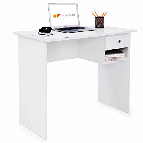 COMIFORT T02B - Escritorio con Cajon e Estante, Mesa de Ordenador, 90x50x74 cm (Blanco)