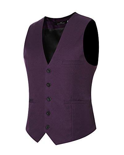 Herren Anzugweste Slim Fit Freizeit Business Casual Weste Einfarbig Ärmellos Anzug Jacke Lila L