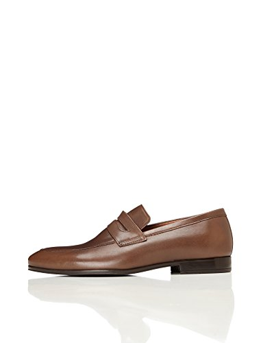FIND Leather Formal, Mens Loafers, Brown (Brown), 6.5 (40 EU)