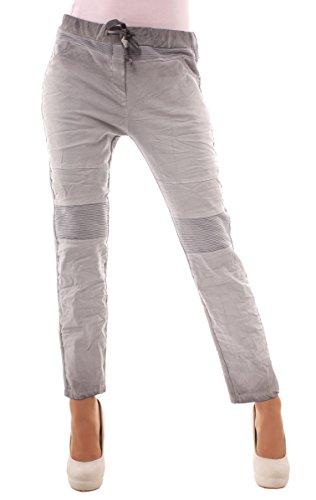 Easy Young Fashion Damen Hose Sweatpants Freizeithose im Biker-Style mit 7/8 Bein onesize Mittelgrau
